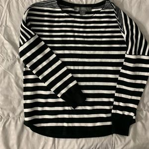 French Connection xs black white stripe sweater